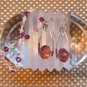 Silver drop earrings with large pink crystal